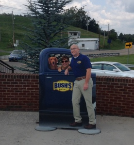 Photo-op outside Bush's Beans museum, factory and cafe