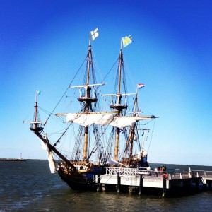 The Kalmar Nyckel, a recreation of the tall ship that brought the first settlers to Delaware in 1683