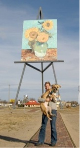 Butters enjoys the World's Largest easel