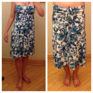 Two of the four ways to wear the Patagonia Kamala convertible skirt/dress
