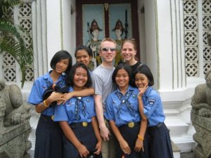 These Thai schoolgirls on a field trip approached us and asked to take a picture with us.  We agreed so long as we could take a picture with them too.