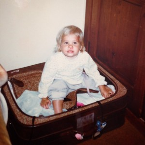 Children are somewhat fragile and should not be packed in your suitcase.  Note: My parents did not put me in this suitcase at 18 months old.  My brilliant, toddler self decided that sitting in a suitcase was the best way to get home after falling and getting a bloody nose ;)