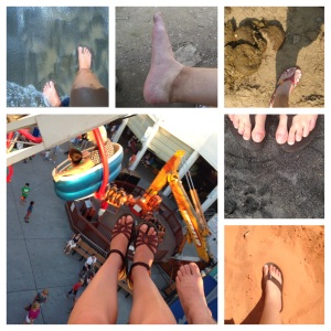My feet, they don't get pedicures, but they take me to amazing places: black sand beach in St. Lucia, trekking through Thailand while avoiding elephant poop, swinging through the air on rides at the Delaware beaches, blacker sand beaches in Hawaii, and red sand deserts  in Utah.
