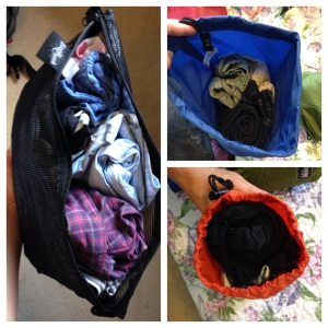 Rolled up clothes take up less space.  Stuff sacks can help you squish your clothes down even more