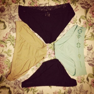Women's travel underwear (from top going clockwise) ExOfficio Lacy Low Rise, Patagonia Active Hipster, Patagonia Barely Bikini, ExOfficio String Bikini