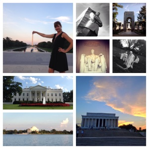 A collage of monuments and memorials along the National Mall