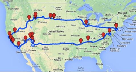 Ultimate road trip map