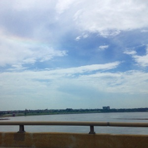 The mighty Mississippi River as seen at 60 mph from one of the many bridges crossing it