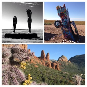 Giant legs and Cadillac Ranch both near Amarillo, TX along the old Route 66; and Sedona's Red Rocks and cacti