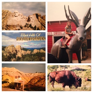 Mount Rushmore; riding a giant jack-a-lope at Wall Drug; postcard from the Black Hills; Badlands (don't be fooled by the name, they're quite beautiful); Bison aka buffalo grazing