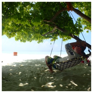 Japan was his first choice, but the husband didn't mind relaxing in the shade on deserted islands or enjoying a snorkel with me