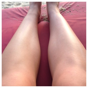 Before settling in to enjoy the sunset I shaved everything I could.  On the left is the shaved leg, on the right the threaded leg.