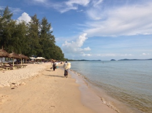 Otres beach in Cambodia is almost perfect.  The only flaw is the trickle of vendors who make their way up and down the beach offering you things you don't need.  Compared to neighboring Serendipity Beach, there's actually quite few vendors and a lot more peace and quiet.