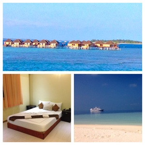 Top: Over-water bungalows at a resort Left: Simple room at a guesthouse Right: Live aboard ship