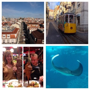 A view of the well-planned city from the top of Arco da Rua Augusta; a tram makes it way up the steep hill;  never-ending meat at a Brazilian style churrascaria; the manta ray that I found at the Oceanario