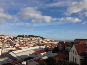 Overlooking the hilly city of Lisbon